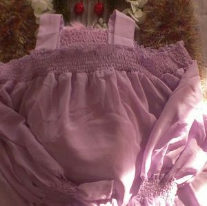Meaneor off the shoulder lilac tunic blouse